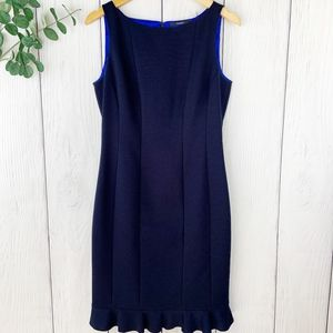 TAHARI Navy Blue Ruffle Hem Dress